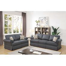 Martina 2pc Loveseat & Sofa Set, Charcoal-glossy