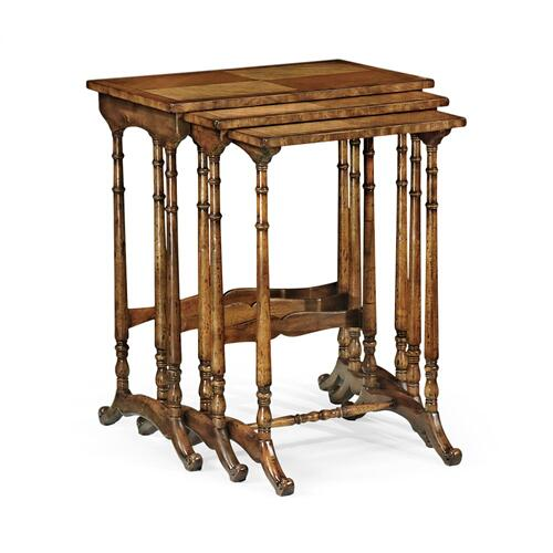 Satinwood nest of three tables
