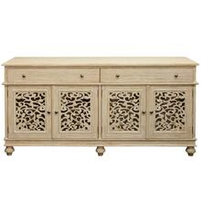 Trinidad 4 door console 2 drawers decorative grill with glass adjustable shelves behind each door