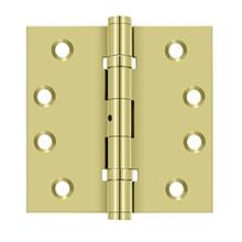 "4"" x 4"" Square Hinges, Ball Bearings - Polished Brass"