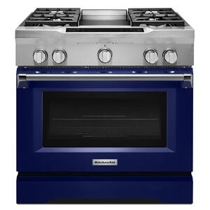 KitchenAid36'' 4-Burner with Griddle, Dual Fuel Freestanding Range, Commercial-Style - Cobalt Blue