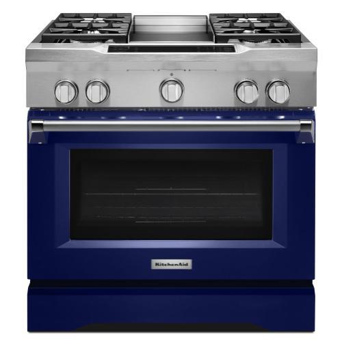KitchenAid - 36'' 4-Burner with Griddle, Dual Fuel Freestanding Range, Commercial-Style - Cobalt Blue