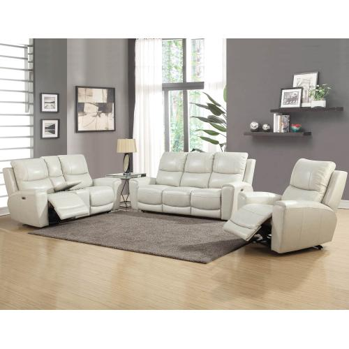 Gallery - Laurel Ivory 3-Piece Dual-Power Leather Motion Set (Sofa, Loveseat & Chair)