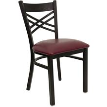 Black ''X'' Back Metal Restaurant Chair with Burgundy Vinyl Seat