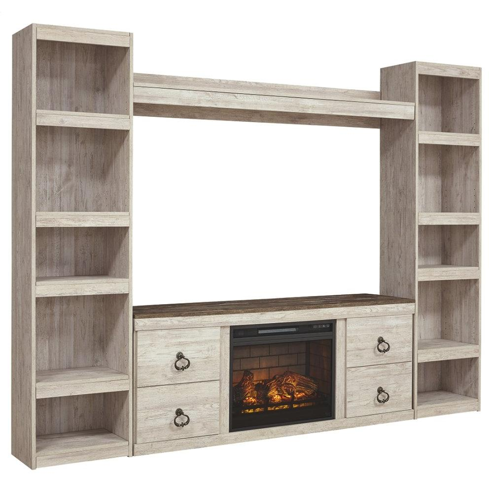 See Details - Willowton 4-piece Entertainment Center With Electric Fireplace