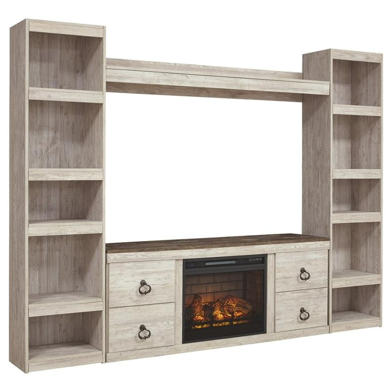 View Product - Willowton 4-piece Entertainment Center With Electric Fireplace