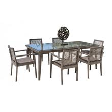 Maldives 7 PC Stackable Armchair Dining Set