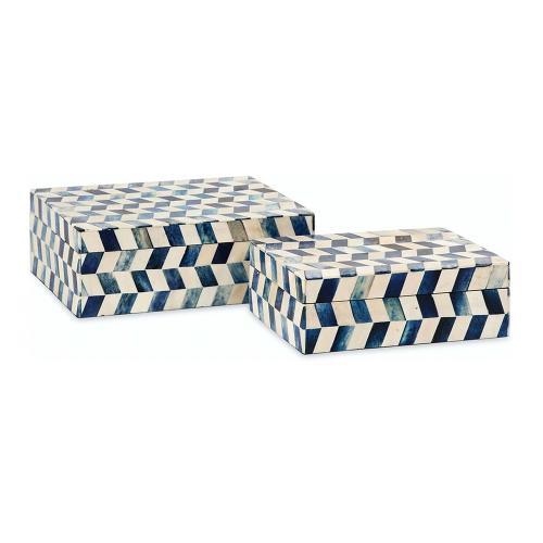 A & B Home - S/2 Marine Blue Bone Boxes