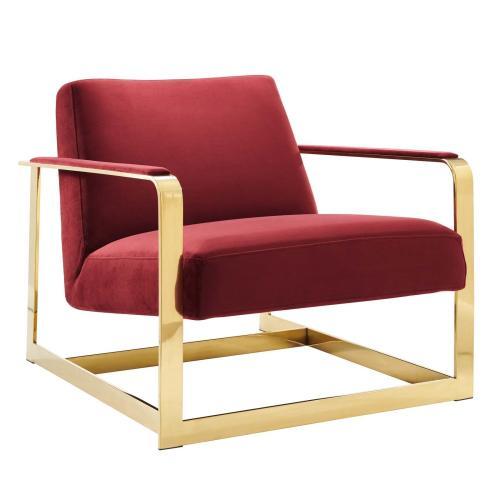 Seg Performance Velvet Accent Chair in Gold Maroon