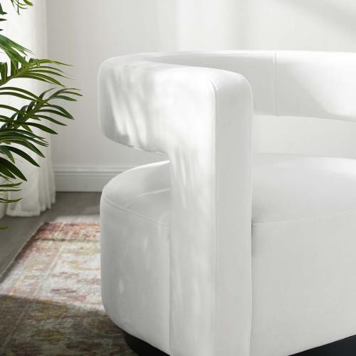 Spin Cutaway Performance Velvet Swivel Armchair in White