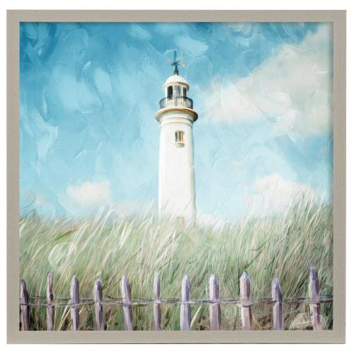 Style Craft - Lighthouse on the Hill  Framed Print Under Glass  32in X 32in
