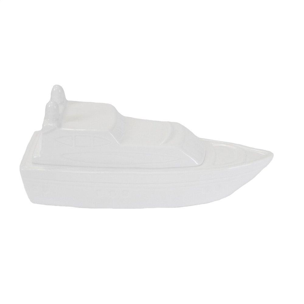 White Ceramic Boat Box