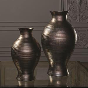 Horizontal Texture Vase-Bronze-Med
