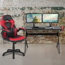 See Details - Black Gaming Desk and Red\/Black Racing Chair Set with Cup Holder, Headphone Hook & 2 Wire Management Holes
