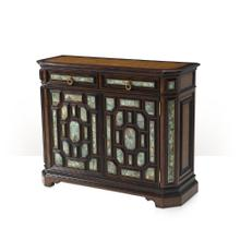 See Details - A pollard burl and turquoise stone panelled side cabinet