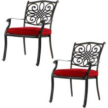 Hanover Set of 2 Traditions Standard Dining Chairs with Red Cushions, AAF06000F04-2