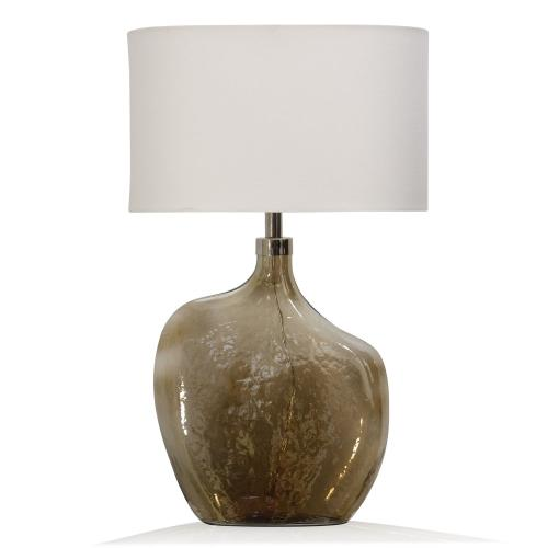 GOLD LUSTER  17in w. X 29in ht. X 10in d.  Amber Art Glass Base Table Lamp with Round Linen Drum S