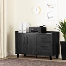 2-Drawer Credenza with Doors - Gray Oak