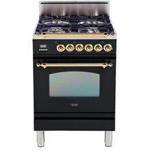 Nostalgie 24 Inch Gas Natural Gas Freestanding Range in Glossy Black with Brass Trim