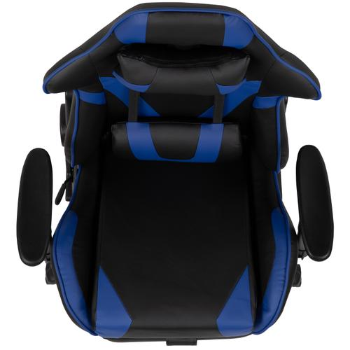 Gallery - X30 Gaming Chair Racing Office Ergonomic Computer Chair with Reclining Back and Slide-Out Footrest in Blue LeatherSoft
