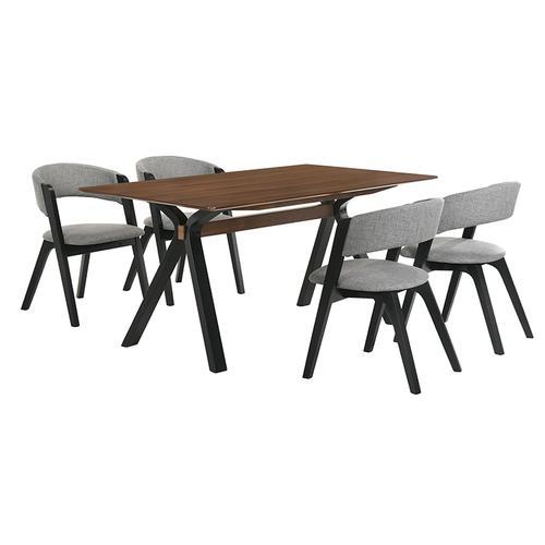 Laredo and Rowan 5 Piece Black Rectangular Dining Set