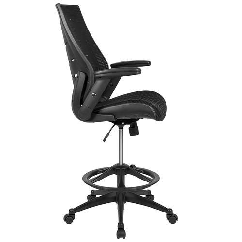 Gallery - High Back Black Mesh Spine-Back Ergonomic Drafting Chair with Adjustable Foot Ring and Adjustable Flip-Up Arms