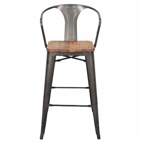 Metropolis Metal Bar Stool Wood Seat, Gunmetal