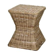 Keoni Rattan Square Stool, Gray