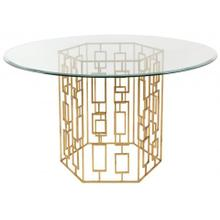"""See Details - Alexandra 54"""" Gold Leaf Glass Dining Table - Gold"""