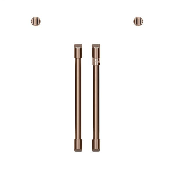 Café 2 French-Door Handles; 2 Knobs - Brushed Copper