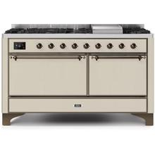 Majestic II 60 Inch Dual Fuel Natural Gas Freestanding Range in Antique White with Copper Trim