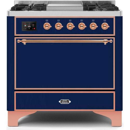 Ilve - Majestic II 36 Inch Dual Fuel Natural Gas Freestanding Range in Blue with Copper Trim