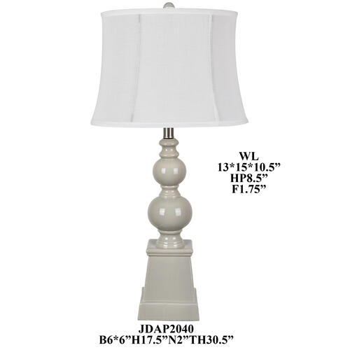 30.5'TH Grey Ceramic Table Lamp 2PCS/3.7'