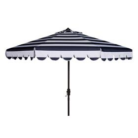 Maui Single Scallop Striped 9ft Crank Auto Tilt Umbrella - Navy / White