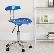 View Product - Vibrant Bright Blue and Chrome Swivel Task Office Chair with Tractor Seat