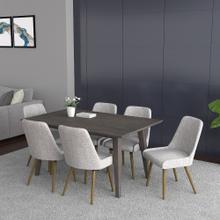 Ashland/Mia 7pc Dining Set, Grey/Grey & Light Grey