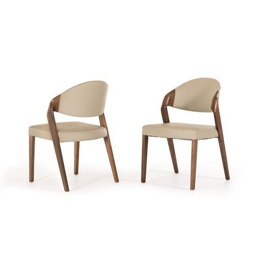 Modrest Arlo Mid-Century Beige & Walnut Dining Chair (Set of 2)