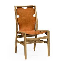Midcentury style slung medium antique chestnut leather light oak side chair
