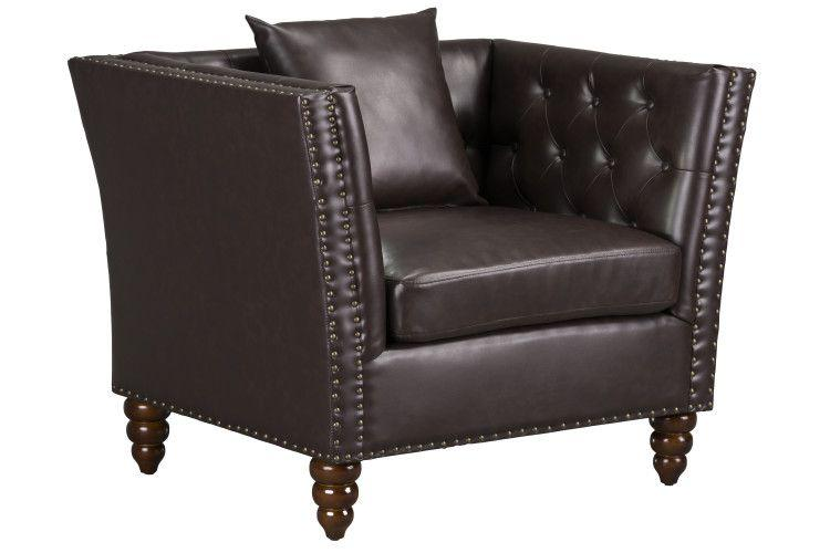 Westerly Tufted Arm Chair, Dark Brown