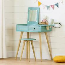 Solid Wood Vanity Table with Stool Set - Blue Wood