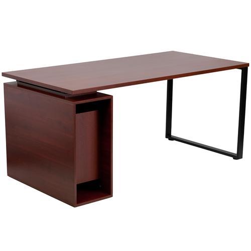 Flash Furniture - Mahogany Computer Desk with Open Storage Pedestal