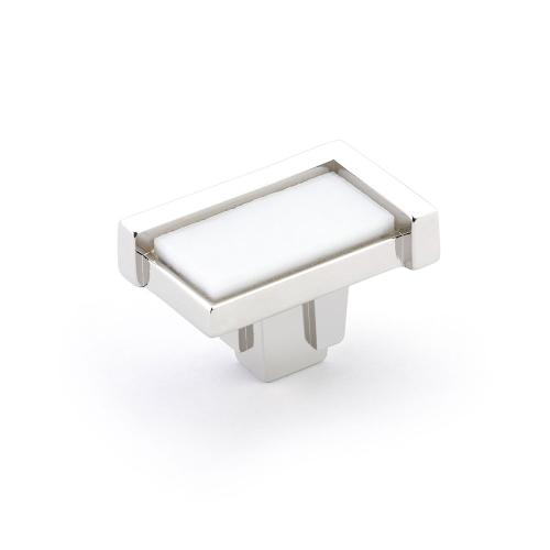 "Tallmadge, Knob, Rectangle, 1-3/4"" x 1-1/8"", Polished Nickel, White Glass"