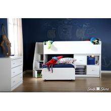 Loft Bed with Stairs - Pure White