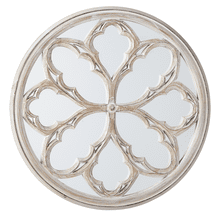 Carved Whitewash Medallion Overlay Wall Mirror