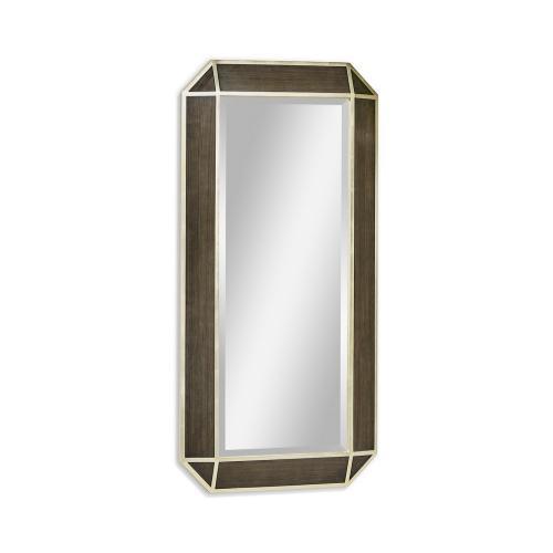 Gatsby Contemporary Rectangular Bevelled Dark Grey Walnut & Champagne Silver-leaf Floor Standing Mirror