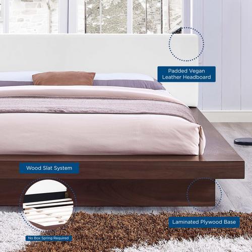 Modway - Freja Queen Vinyl Platform Bed in Walnut White