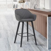 "Crimson 30"" Bar Height Stool with Black Brushed Finish and Gray Faux Leather"