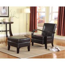 Brown Bonded Leather Arm Chair with Ottoman
