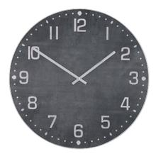 MATTE BLACK  36in w X 36in ht X 2in d  Metal and Wood Industrial Wall Clock with Black Stone Finis