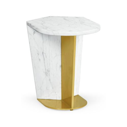 Fusion Medium White Marble & Brass End Table